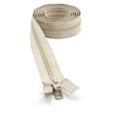"YKK VISLON #10 Separating Zipper Automatic Lock Short Double Pull Metal Slider #VFUVOL-107 DX E 72"" Light Beige"