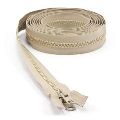 "YKK VISLON #10 Separating Zipper Automatic Lock Short Double Pull Metal Slider #VFUVOL-107 DX E 144"" Light Beige"