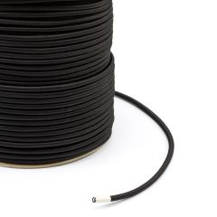 "Polypropylene Covered Elastic Cord 1/4"" M-4 Black (500 feet)"