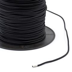 "Synthetic Shock Cord with Polyester Jacket 1/8"" Black (500 feet)"